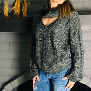 Urban Outfitters Keyhole Neck Chunky Knit Sweater